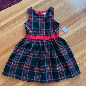 Cat & Jack red plaid holiday party dress sz 10/12
